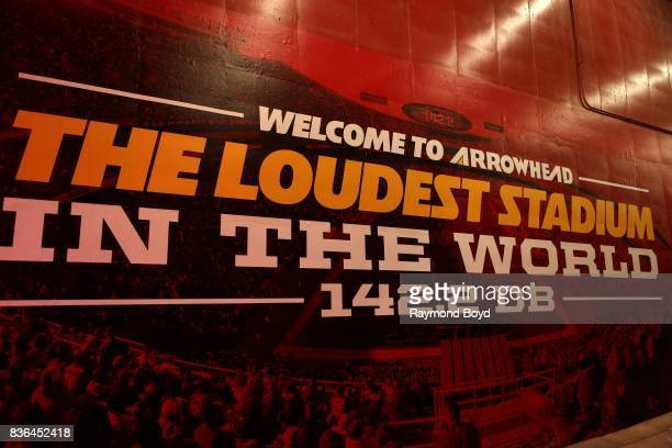 'Welcome To Arrowhead The Loudest Stadium In The World' banner inside Arrowhead Stadium home of the Kansas City Chiefs football team in Kansas City...