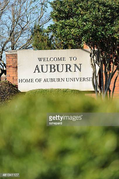 welcome to auburn sign - auburn alabama stock pictures, royalty-free photos & images