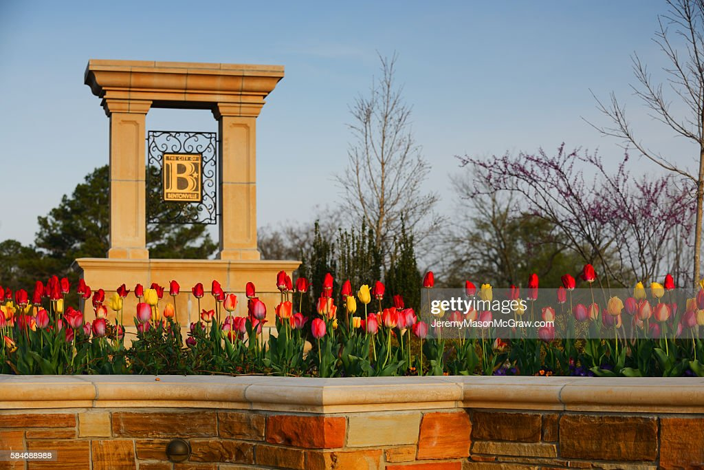Welcome to Bentonville Sign in Spring Flowers : Stock Photo