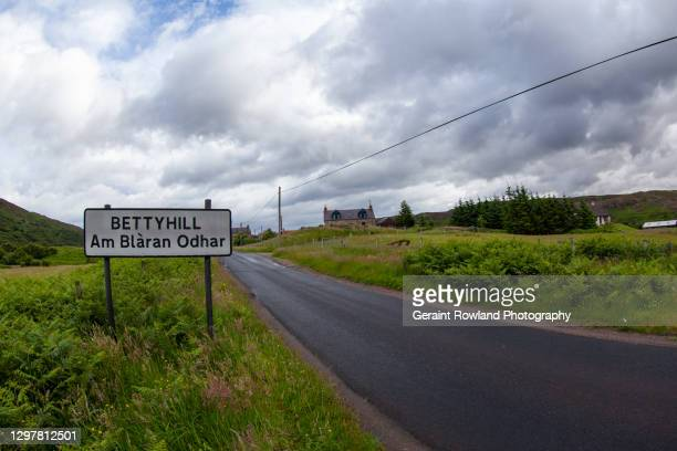 welcome to bettyhill, scotland - sign stock pictures, royalty-free photos & images