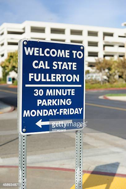 welcome to cal state fullerton parking sign - fullerton california stock photos and pictures