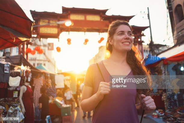 welcome to chinatown! - chiang mai province stock photos and pictures