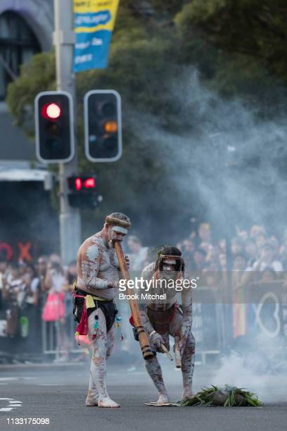 A welcome to country ceremony is performed during the 2019 Sydney Gay Lesbian Mardi Gras Parade on March 02 2019 in Sydney Australia The Sydney Mardi...