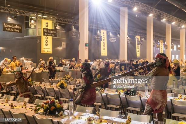 Welcome To Country Ceremony is performed during the OzHarvest CEO Cookoff on March 25 2019 in Sydney Australia