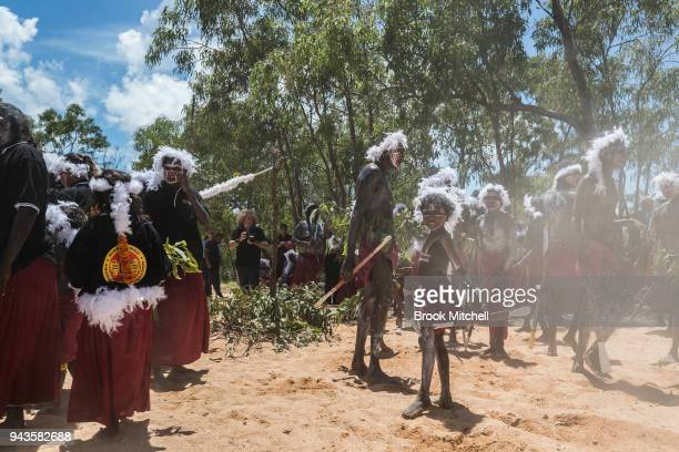A Welcome to Country ceremony is performed for the Prince of Wales on April 9 2018 in Gove Australia The Prince of Wales and Duchess of Cornwall are...