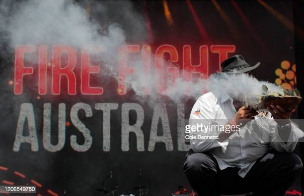 Welcome to Country is performed during Fire Fight Australia at ANZ Stadium on February 16, 2020 in Sydney, Australia.