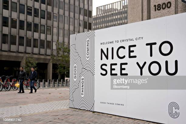 A 'Welcome To Crystal City' sign stands in Arlington Virginia US on Wednesday Nov 7 2018 Seattlebased Amazon Inc is close to agreements that would...