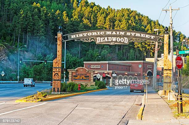 welcome to deadwood  south dakota historic main street - south dakota stock pictures, royalty-free photos & images
