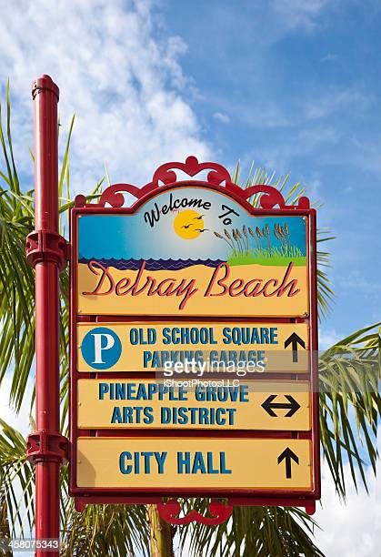 welcome to delray beach - delray beach stock pictures, royalty-free photos & images