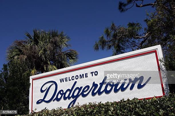 """Welcome to Dodgertown"""" sign is seen during the Los Angeles Dodgers spring training game against the Florida Marlins on March 2, 2005 at Holman..."""