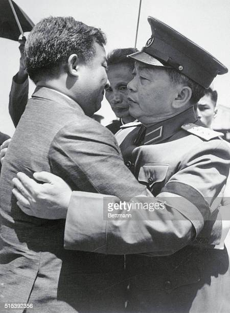 Welcome to Hanoi. Hanoi, North Vietnam: Defense Minister and Vice Premier Nguyen Giap welcomes Prince Norodom Sihanouk, Cambodia's Chief of State, as...