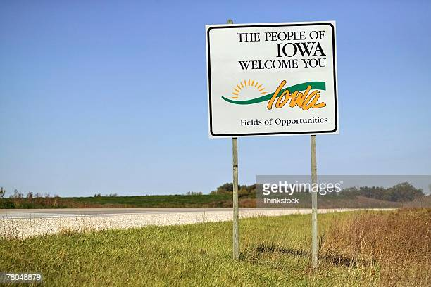welcome to iowa sign - iowa stock pictures, royalty-free photos & images