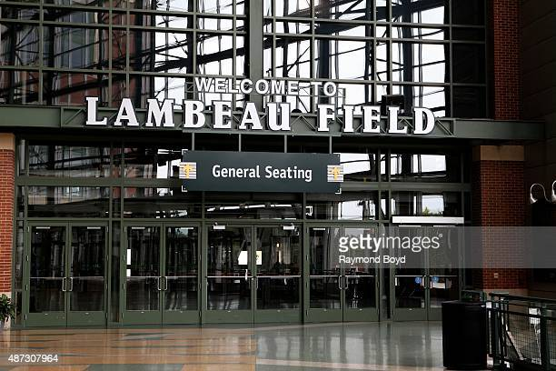 'Welcome To Lambeau Field' signage inside the Lambeau Field atrium on August 31 2015 in Green Bay Wisconsin