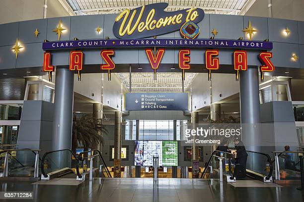 Welcome to Las Vegas neon sign in McCarran International Airport