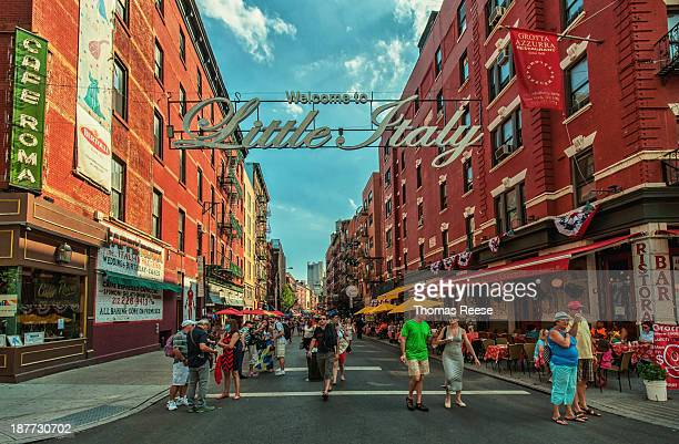 Welcome to Little Italy. View down Mulberry Street Lower Manhattan, NYC. Known as Little Italy. Manhattan, New York City. Today the neighborhood of...