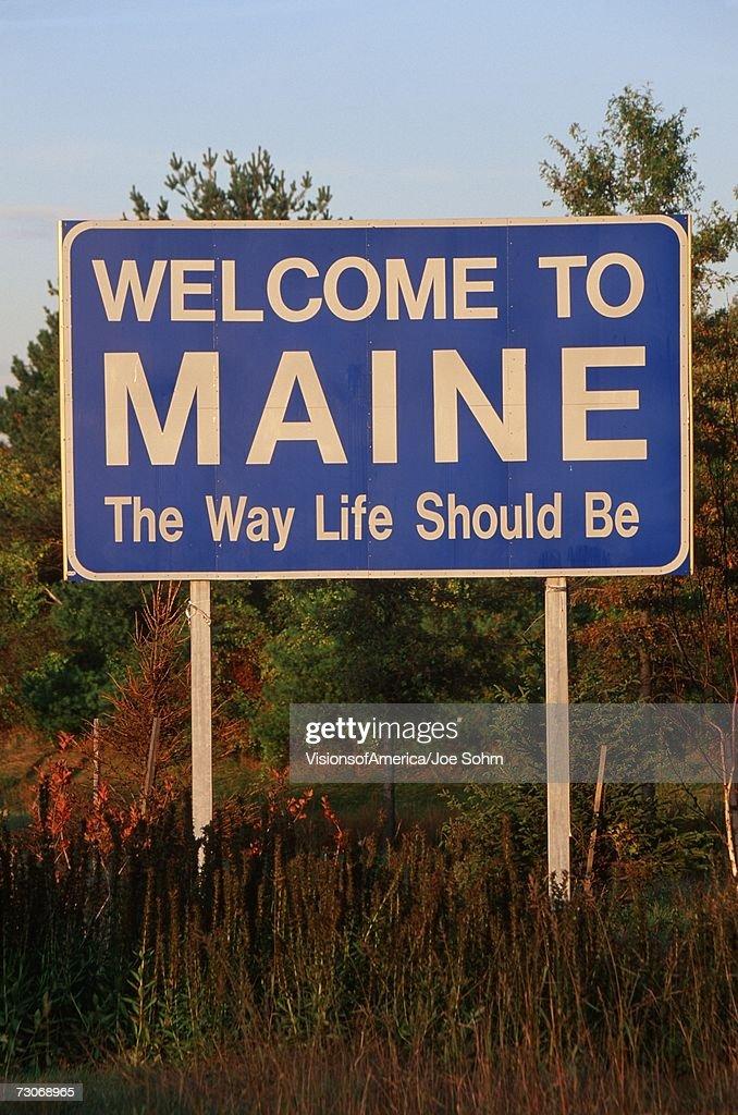 Welcome to Maine Sign : Bildbanksbilder