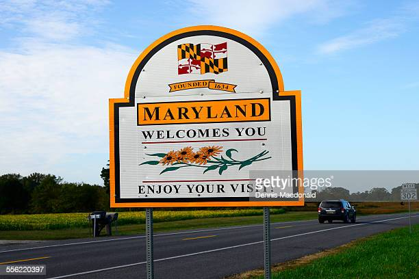Welcome to Maryland road sign entering the state