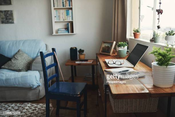 welcome to my home office - home interior stock pictures, royalty-free photos & images