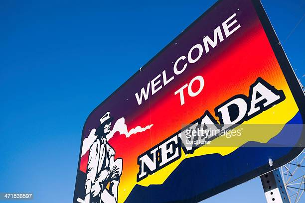 welcome to nevada - us state border stock photos and pictures