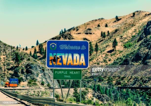 welcome to nevada state line on interstate highway 80 - nevada stock pictures, royalty-free photos & images