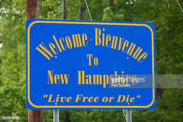 welcome to new hampshire sign - new hampshire stock pictures, royalty-free photos & images