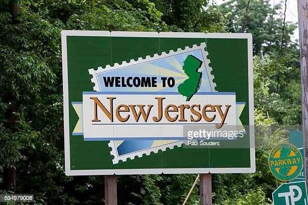 welcome to new jersey sign - new jersey bildbanksfoton och bilder