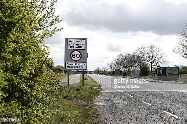 A welcome to Northern Ireland road sign signalling the crossing of the border between north and south can be seen on May 4 2016 in Ireland The United...