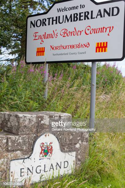 welcome to northumberland - national border stock pictures, royalty-free photos & images