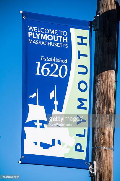 welcome to plymouth banner - plymouth massachusetts stock photos and pictures