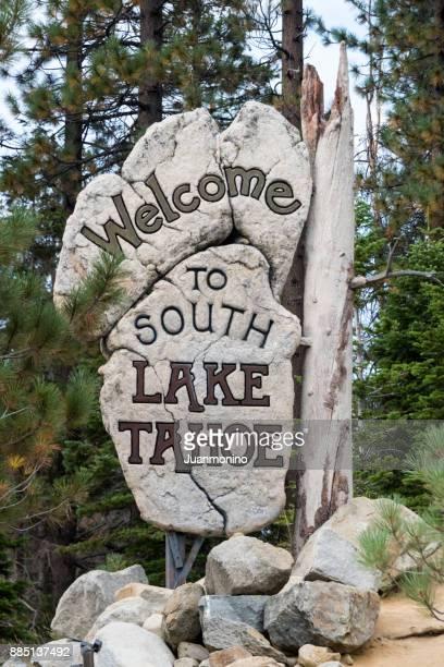 サウス ・ レイクタホへようこそ - サウスレイクタホ ストックフォトと画像