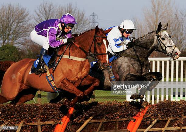 Welcome to Unos ridden by P Kinsella and Common Girl ridden by JP McNamara on their way to winning The Sponsor at Huntingdon Handicap Hurdle Race at...
