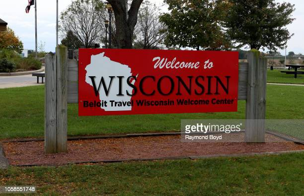 'Welcome To Wisconsin' signage at the Beloit Travel Wisconsin Welcome Center on October 12 2018 in Beloit Wisconsin
