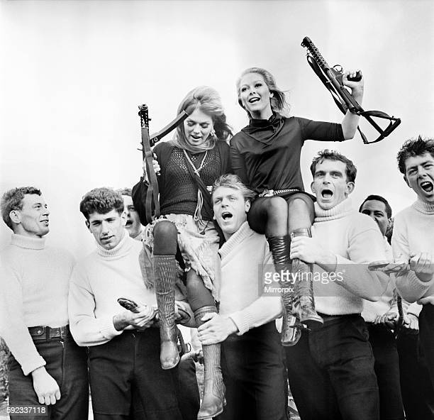 Welcome visitors at the Royal Navy Gunnery School HMS excellence at Portsmouth today were actresses Jenny Hanley and Julie Ege Both appeared in the...