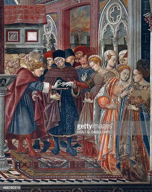 Welcoming education and marriage of a girl from the hospital 14411442 fresco by Domenico di Bartolo Pellegrinaio di Santa Maria della Scala Siena...