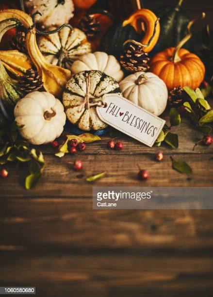 Welcoming fall with pumpkin assortment still life and blessings greeting
