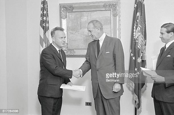 Welcoming New Ambassador Washington DC President Johnson receives the credentials of Yitzhak Rabin the new ambassador from Israel to the US today The...