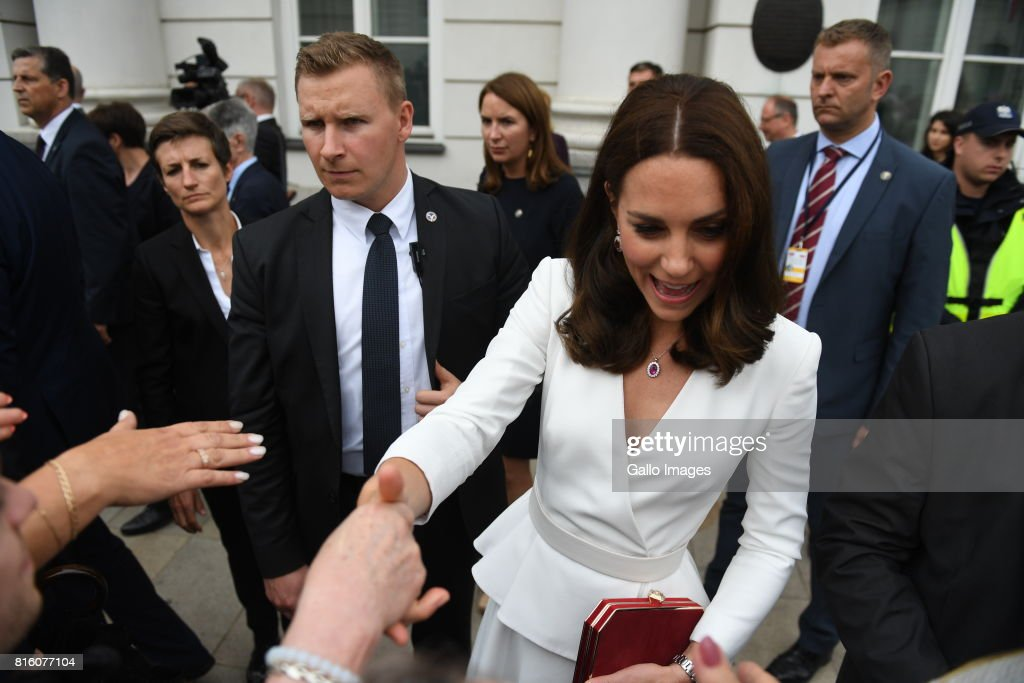 Welcoming of their Royal Highnesses Prince William and Kate Middleton by the President of the Republic of Poland Andrzej Duda and Mrs Kornhauser-Duda at the Courtyard of the Presidential Palace on July 17, 2017 in Warsaw, Poland. William and Middleton, from the United Kingdom are visiting Warsaw and Gdansk.