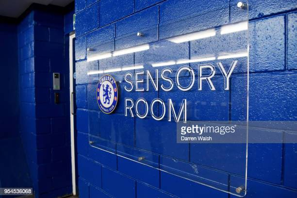 A welcoming sign is issen outside the new sensory room during the Chelsea FC sensory room launch at Stamford Bridge on May 2 2018 in Cobham England