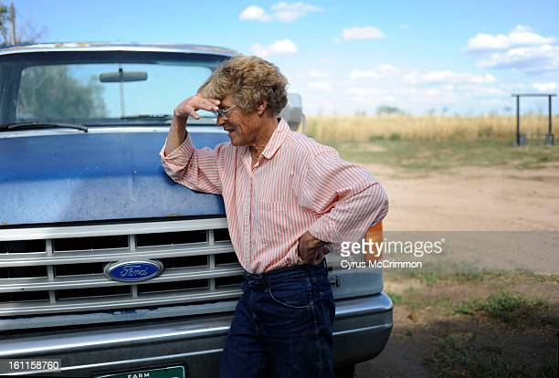 Weld County farmer Karen Healey reflects on her loan with New Frontier Bank from her farm east of Eaton on Monday, August 17, 2009. Many in Eaton are...