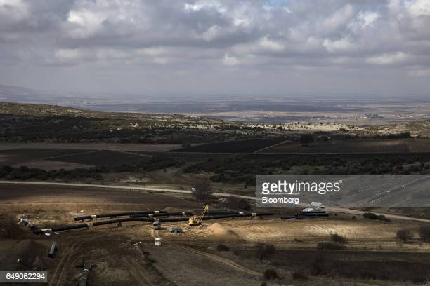Welded pipe sections sit on the ground at the 63km point during the construction of the Trans Adriatic gas pipeline in Sikorachi Greece on Thursday...