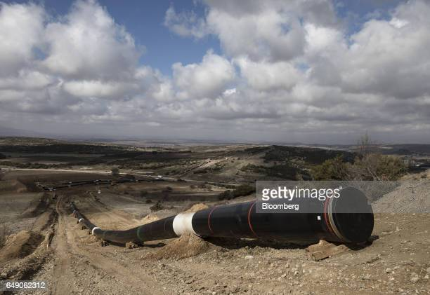 Welded pipe sections sits on the ground at the 63km point during the construction of the Trans Adriatic gas pipeline in Sikorachi Greece on Thursday...