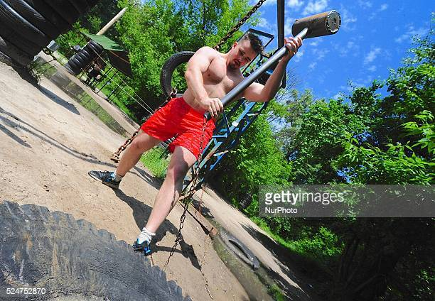 A welded sledge hammer is used to work out in a Soviet era fitness grounds of Kachalka quotMuscle Beachquot stretches 6 miles on the island of Tuhev...