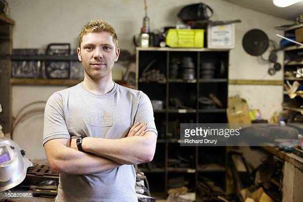 welder in his workshop - richard drury stock pictures, royalty-free photos & images