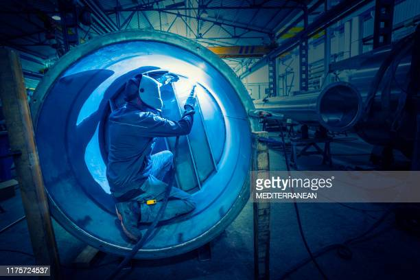 welder man welding stainless steel tank - boiler stock pictures, royalty-free photos & images