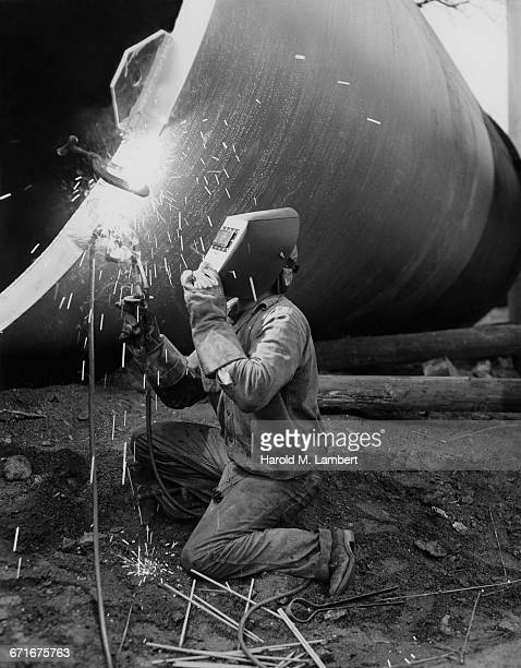 ' Welder Wearing Protective Clothes, Working '