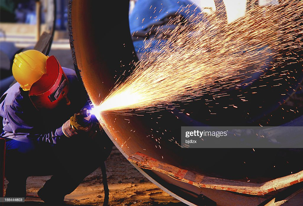 Welder works sparkle : Stock Photo