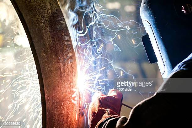 welder's special tecnique - welding stock photos and pictures