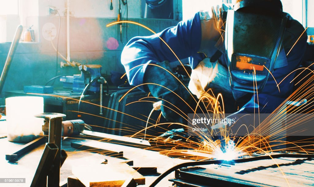 Welding two pieces of metal. : Stock Photo