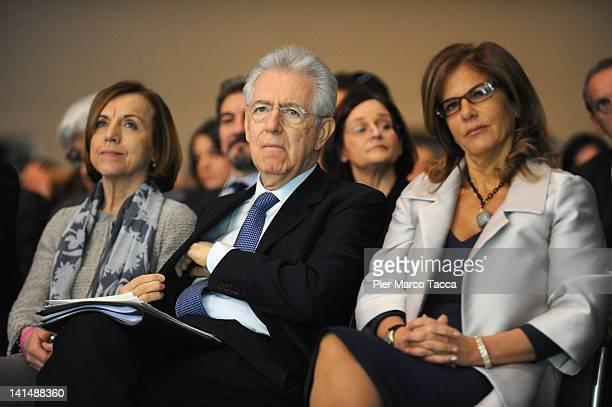 Welfare Minister Elsa Fornero Italian Prime Minister Mario Monti and Confindustria President Emma Marcegaglia attend day two of the Confindustria...
