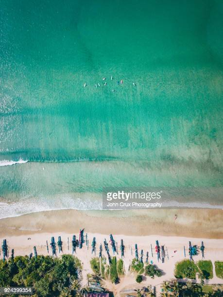 weligama beach drone image - sri lanka stock pictures, royalty-free photos & images